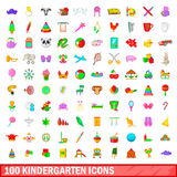 100 kindergarten icons set, cartoon style. 100 kindergarten icons set in cartoon style for any design vector illustration royalty free illustration