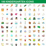 100 kindergarten icons set, cartoon style. 100 kindergarten icons set in cartoon style for any design illustration stock illustration
