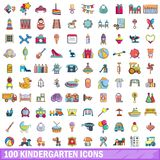 100 kindergarten icons set, cartoon style. 100 kindergarten icons set in cartoon style for any design vector illustration Royalty Free Stock Image