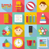 Kindergarten icons set, flat style. Kindergarten icons set. Flat illustration of 16 kindergarten vector icons for web Royalty Free Stock Images