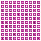 100 kindergarten icons set grunge pink. 100 kindergarten icons set in grunge style pink color isolated on white background vector illustration Stock Image