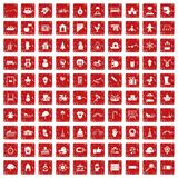 100 kindergarten icons set grunge red. 100 kindergarten icons set in grunge style red color isolated on white background vector illustration Stock Photography