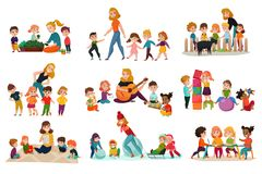 Kindergarten Icons Set Royalty Free Stock Photo