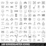 100 kindergarten icons set, outline style. 100 kindergarten icons set in outline style for any design vector illustration Royalty Free Stock Photos