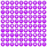 100 kindergarten icons set purple. 100 kindergarten icons set in purple circle isolated on white vector illustration Royalty Free Stock Images