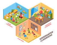 Kindergarten Indoor Isometric Illustration. Kindergarten indoor isometric design concept with children and teacher in study classroom play room and creativity Stock Photos