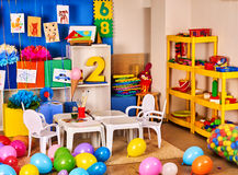 Kindergarten interior decoration child picture on wall. Royalty Free Stock Photos