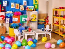 Kindergarten interior decoration child picture on wall. Stock Image