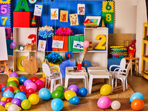 Kindergarten interior decoration child picture on wall. Royalty Free Stock Images