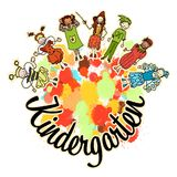 Kindergarten invitation with kids in costumes. Hand-drawn sketches doodles in beautiful outfits and costumes. Happy childhood icons Royalty Free Stock Photo