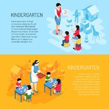 Kindergarten Isometric Banners. Kids during eating and learning of count on blue orange background isolated vector illustration stock illustration