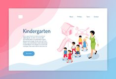 Kindergarten Isometric Web Page. With group of preschoolers educator and objects of play ground vector illustration stock illustration