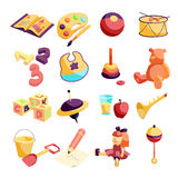 Kindergarten items icons set, carftoon style Royalty Free Stock Images