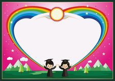 Kindergarten, kid diploma with rainbow background Stock Image