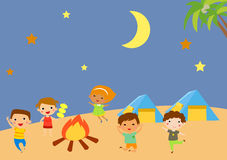 Kindergarten kids camping Royalty Free Stock Photos