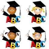 Kindergarten Kids Graduates. An illustration featuring 4 young children wearing graduate hats, gowns and holding diplomas with ABC in the front to represent Royalty Free Stock Photos
