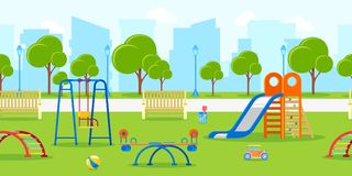 Kindergarten or kids playground in city park. Vector horizontal seamless background. Leisure and outdoor activities. Kindergarten or kids playground in city stock illustration