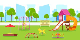 Kindergarten or kids playground in city park. Vector urban life, leisure and outdoor activities illustration. Summer or spring cityscape royalty free illustration