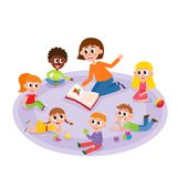 Kindergarten kids and teacher reading a book. Comic, cartoon vector illustration isolated on white background. Female teacher reads a book to kindergarten kids Stock Images