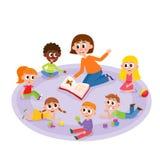 Kindergarten kids and teacher reading a book vector illustration