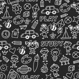 Kindergarten-Kindertagesstätten-Vorschulschulbildung mit Kindern kritzeln Muster Spiel und studieren Jungen- und Mädchenkinderdas lizenzfreie abbildung