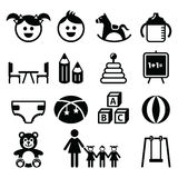 Kindergarten, Kindertagesstätte, Vorschulikonen eingestellt Stockbilder