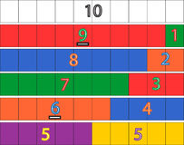 Kindergarten Math Game. Classroom-tested Kindergarten Math game designed to help children understand the concept of decomposing numbers from a base of ten. Print Royalty Free Stock Images