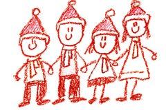 Kindergarten mit der Lehrerkarikaturhand gezeichnet, Winter mit den Schneemannjahreszeiten lokalisiert auf wei stockbilder