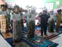 The kindergarten moslem kids Stock Images