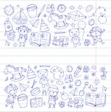Kindergarten Nursery Preschool School education with children Doodle pattern Kids play and study Boys and girls kids Stock Photography