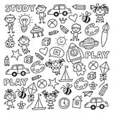 Kindergarten Nursery Preschool School education with children Doodle pattern Kids play and study Boys and girls kids. Drawing icons Space, adventure Royalty Free Stock Images