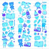 Kindergarten Nursery Preschool School education with children Doodle pattern Kids play and study Boys and girls kids Royalty Free Stock Photos