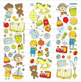 Kindergarten Nursery Preschool School education with children Doodle pattern Kids play and study Boys and girls kids Royalty Free Stock Images