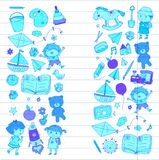 Kindergarten Nursery Preschool School education with children Doodle pattern Kids play and study Boys and girls kids Stock Photo