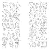 Kindergarten Nursery Preschool School education with children Doodle pattern Kids play and study Boys and girls kids Stock Images