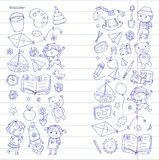 Kindergarten Nursery Preschool School education with children Doodle pattern Kids play and study Boys and girls kids Stock Photos