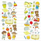 Kindergarten Nursery Preschool School education with children Doodle pattern Kids play and study Boys and girls kids Royalty Free Stock Photo