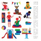 Kindergarten original. Kindergarten kids learning abc, drawing and counting, in flat style. Fine for stationary, preschool sites and articles, illustrations royalty free illustration