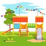 Kindergarten outdoor park playground slide Royalty Free Stock Photos