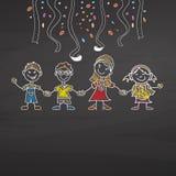 Kindergarten party on chalkboard Stock Photo