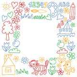 Kindergarten pattern, drawn kids garden elements pattern, doodle drawing, vector illustration, colorful. stock illustration