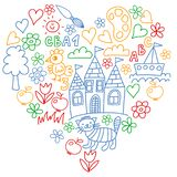 Kindergarten pattern, drawn kids garden elements pattern, doodle drawing, vector illustration, colorful. royalty free illustration