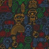 Kindergarten pattern, drawn kids garden elements pattern, doodle drawing, vector illustration, colorful. seamless stock illustration