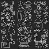 Kindergarten pattern, drawn kids garden elements pattern, doodle drawing, vector illustration, monochrome, black, white. vector illustration