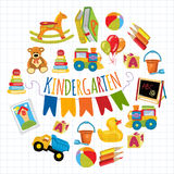 Kindergarten Play and study Vector images Stock Images