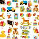 Kindergarten Play and study Vector images Royalty Free Stock Photos