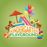 Kindergarten Playground Flat Composition Royalty Free Stock Image