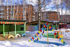 Kindergarten playground in winter Stock Photo