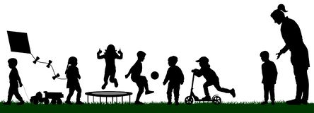 Kindergarten with playing children. Socialization of children. Playground with kids silhouette vector. Mom pushes her son to play