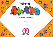 kindergarten Preschool kids Diploma design template Stock Photos